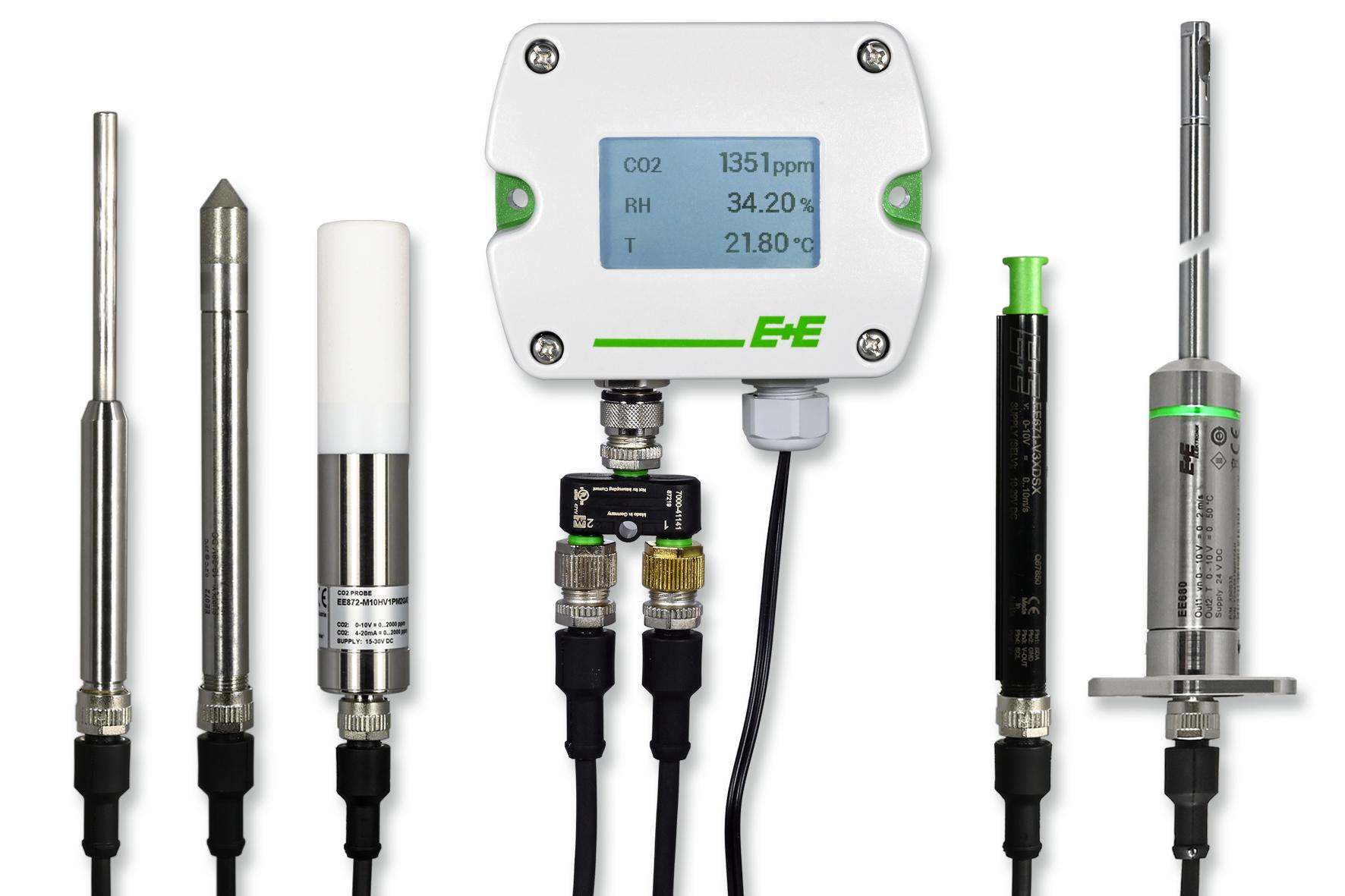 E+E Sigma 05 is een modulair sensor platform met verwisselbare meetvoelers voor de parameters: Relatieve vochtigheid, Temperatuur, CO2 en Luchtsnelheid.