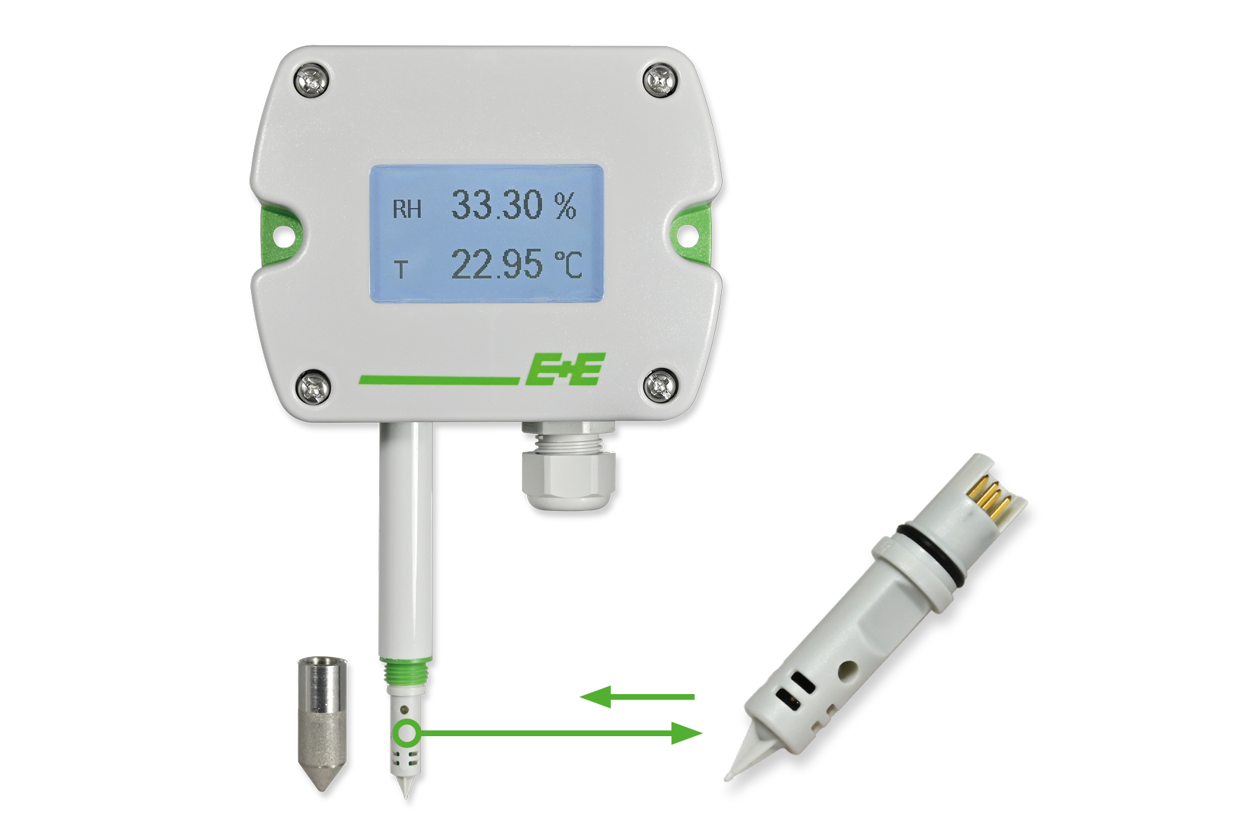 Vochtigheids- en temperatuursensor met verwisselbare sensor-tip Betrouwbaar blijven meten zonder omslachtige kalibraties!