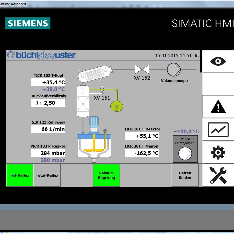 Compleet, standaard automatiseringssysteem voor glasreactoren; eenvoudige bediening, snel en modulair