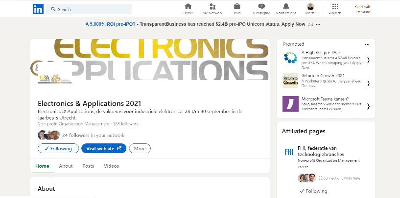 Ontdek de nieuwe LinkedIn pagina van Electronics & Applications 2021