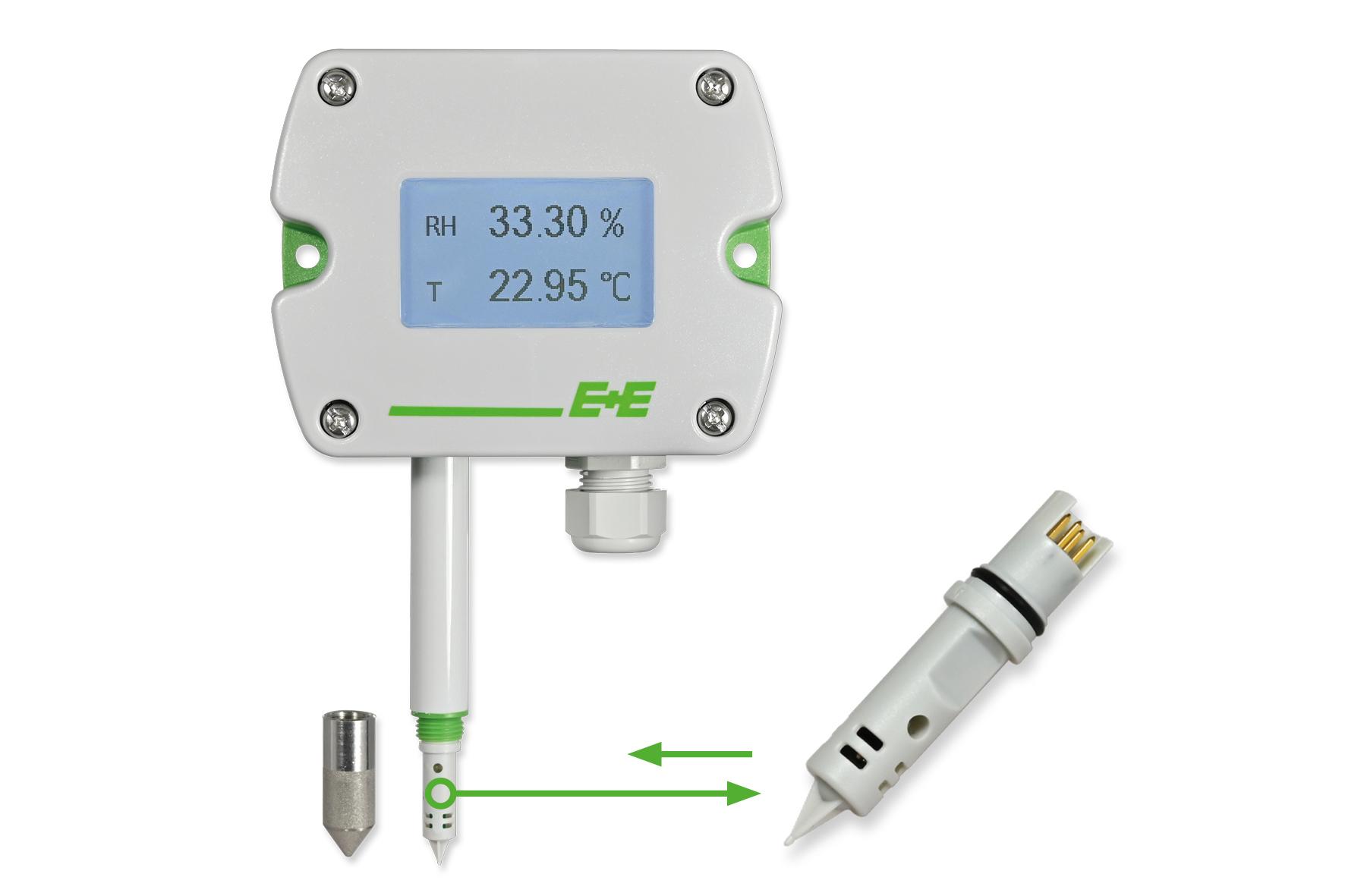 E+E Vochtigheids- en temperatuursensor met verwisselbare sensor-tip - Betrouwbaar blijven meten zonder omslachtige kalibraties!