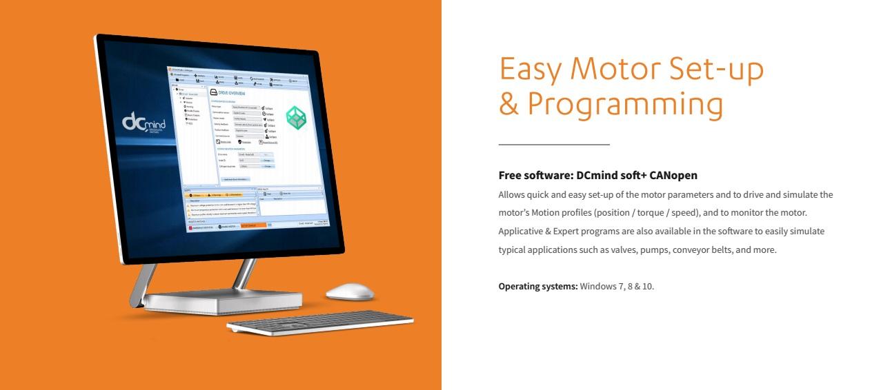 Gratis software DCmind soft+ CANopen, gemakkelijke motor set-up en programmeren