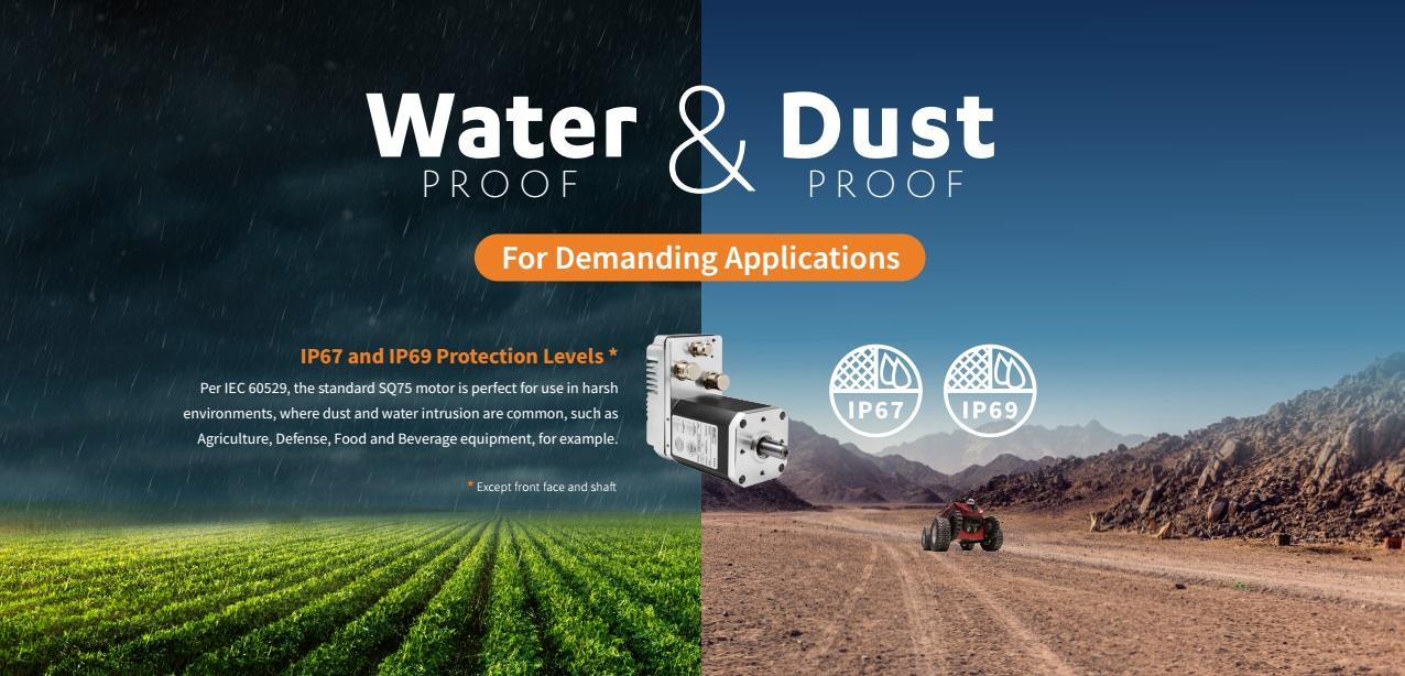 Per IEC 60529, SQ75 motor, IP67 en IP69 bescherming tegen water en stof